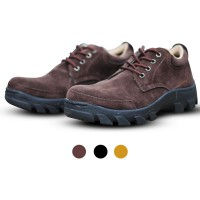 Sepatu Pria Low Boots Safety Suede Leather [HITAM & COKLAT]