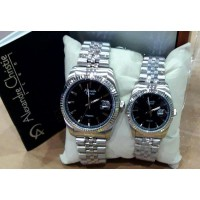 Jam Tangan Alexandre Christie Ac-8461 Couple Silver Black Original
