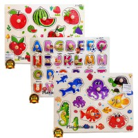 Puzzle Knob Sealife / Fruits & Vegetables / Abjad - Mainan Edukasi Anak - Ages 3+