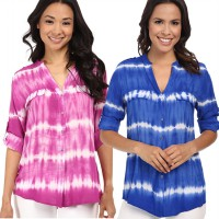 CK Outlet tiedye women rollups sleeve blouse_blouse wanita best seller