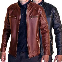 Jaket /Jaket Kulit Pria/Jaket Trendy-Black Brown/David Beckam/Mens jacket