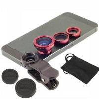 Universal 3 in 1 Clip Lens: Macro+Wide Lens, Fish Eye (White with Red Lens)