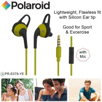 polaroid earphone sports in ear with microphone &silicone ear tip handsfree stereo headset PRE078-YE