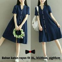 DRESS BUTTON NAVY BAHAN KATUN RAYON FIT TO XL
