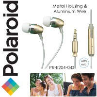 Polaroid metal earphone with microphone & aluminium wire handsfree stereo headset PRE204-GD