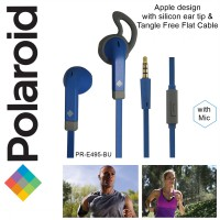 Polaroid earphone Apple design, tangle free w/ microphone &silicone ear tip handsfree stereo E495-BU