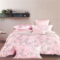 Sleep Buddy set sprei dan Bed Cover Pink Flower Cotton Sateen extra king Size