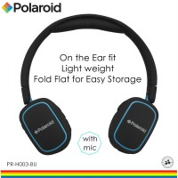 Polaroid headphone on ears fit, soft ear pad & fold flat for easy storage handsfree headset H003-BU