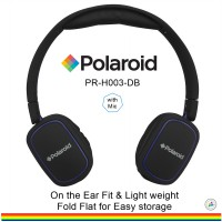 Polaroid headphone on ears fit, soft ear pad & fold flat for easy storage handsfree headset H003-DB