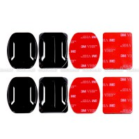 GoPro 2x Flat & 2x Curved Mounts w/ Adhesive Tapes for GOPRO, BRICA B-PRO & Xiaomi Yi Camera