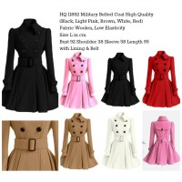 Military Belted Coat (BLACK/WHITE/KHAKI/RED/PINK)-11892