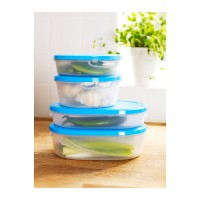 IKEA (R) - JAMKA Food Container 1 Set isi 3 White Transparent Blue (BPA Free) T=8cm