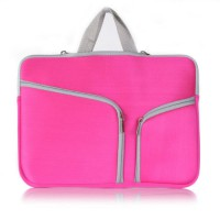 Tas Laptop / Softcase Double Pocket for Macbook 11inch - Pink