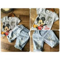 setelan mickey ponggol ripped for kids original import
