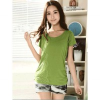 Green Home Nursing Shirt With Lace Accent MA008 green