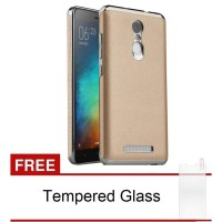 Xiaomi Redmi Note 3 / Note 3 Pro Back Case Leather (Gold) Free Tempered Glass