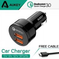 AUKEY FAST CAR CHARGER WITH DUAL QUICK CHARGE