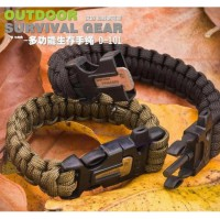 Gelang Survival Paracord Bracelet Plastic Buckle with whistle, and Flint