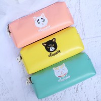 Lovely Cat Leather Pencil Case / Kotak / Tempat Pensil Lucu Murah Unik