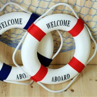 [globalbuy] Umiwe Navy Style Lifebuoy Home Decor Nautical Welcome Aboard Decorative Ring R/3847049