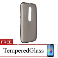 Case for Motorola Moto E3 Power - Abu-abu + Gratis Tempered Glass - Ultra Thin Soft Case