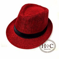Topi Fedora Hat LIST RED FEDORA