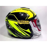 #Half Face HELM KYT KYOTO SUPER FLUO CARBONIZED ED 01 YELLOW FLUO HALF FACE