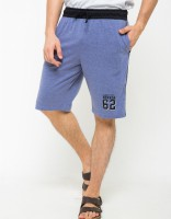 Nevada Brand Print Detailed Shorts - Misty Blue