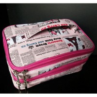 WSO London Pink (Woman Stuff Organizer) Tas Kosmetik 2 susun (Cosmetic Bag) Travelling Organizer