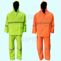 Jas Hujan Safety PVC With Reflective Fluorescent Green & Orange