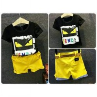 Setelan fendi yellow pant for kids original import