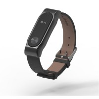 Genuine Leather Mijobs Replacement Band / Strap Black For Xiaomi Mi Band 2 OLED