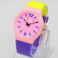 Jam Tangan Pria / Wanita Swatch Colour Rubber Yellow Pink Purple