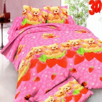 Rosewell Set Sprei Bear Strawberry 100x200x20cm