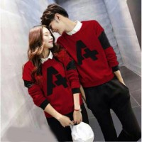 LP A Red Baju Couple Lengan Panjang / Kaos pasangan / Kopel