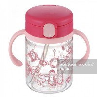 Richell Clear Straw Bottle Mug 200ml - Pink Shoes