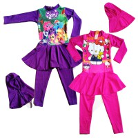 Baju Renang Anak Muslim Hello Kitty Pink - Barbie - My Little Ponny