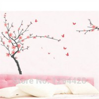 [globalbuy] Butterfly wall stickers plum blossom tree 3d vinyl decals home decoration livi/3387023