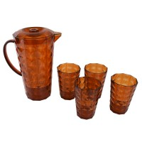 Atria Acrylic Pitcher Set Brown