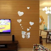 [globalbuy] Cat Acrylic Mirror Wall Sticker Kids Girl DIY Accessory 3D Home Decor for Livi/3374859