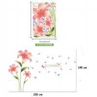 Wallsticker Uk.60x90 Wallstiker Bunga Pink Kupu - Kupu