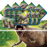 [poledit] Jurassic World Park Dinosaurs Birthday Complete Party Tableware Pack For 16 (R1)/12124538