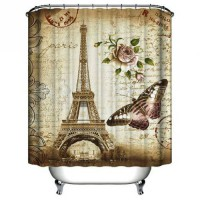 [globalbuy] Paris Eiffel Tower Waterproof Kids Bathroom Shower Curtain Retro Vintage Home /3363214