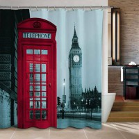 [globalbuy] 180*180cm Famous City Landmark Pattern London Big Ben Polyester Shower Curtain/3363282