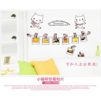 [globalbuy] AY852 Big Size Cartoon Kitty Cats Photo Frame DIY Removable Wall Stickers Livi/3355599