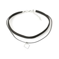 Kalung Cantik & Manis Choker A85 Leather Small Cubic Zircon Square