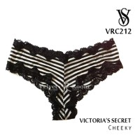 [VELVET ROOM] VRC212 size S / Victoria's Secret / Lace-Trim Cheeky / Stripes Black & White / Nylon-Elastane