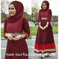 DRESS MUSLIM MAXI NURHALIZA SEMI JERSEY MIX RENDA PRADA BUSUI FIT TO L