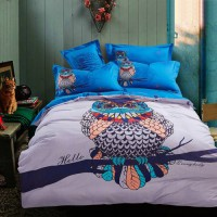 [globalbuy] Blue Harry Potter hathaway Owls bird print bedding set queen king size bed cov/3276822