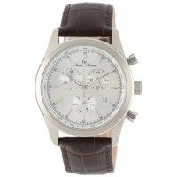 [holiczone] Lucien Piccard Mens LP-11570-02S Eiger Chronograph Silver Dial Brown Leather W/1101095